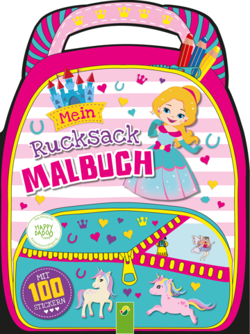 Happydadoo rucksack malbuch rosa